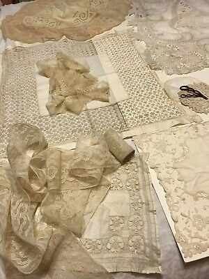 Lot Of Antique Handkerchiefs And Trims/Laces - 19Th Century Handmade Lace