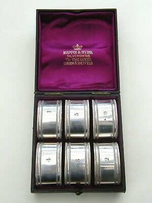 Antique-Mappin & Webb-Set Of x6 Silver Plated Oval Napkin Rings In Org Box-c1890