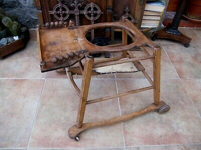 Antique-RARE-Childs Carved Oak & Pine Play Seat Run Around Safety Cage-c1880's