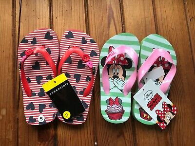 Girls Flip Flops Disney Minnie Mouse And Hearts Size 7-8