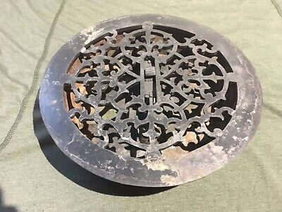 "Floor Grate, round, fits about an 8"" hole, with louvers, Antique"