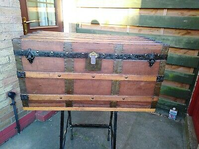 Antique Travel Trunk 36.5in long, 17.5in high, 19in wide
