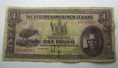 New Zealand 1934 - 40 L. Lefeaux One Pound Banknote. A well used example - VG