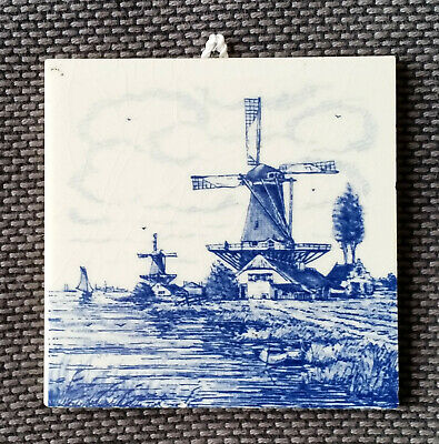 Delft Blue Ceramic Windmill Tile. Hand Painted in Holland.