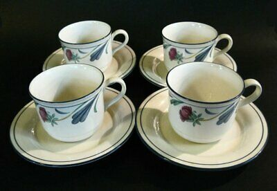 Lenox China Poppies on Blue Pattern 4 Cups And 4 Saucers Made In USA