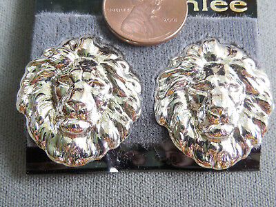 "Vintage NOS pr neat silver tone 1 1/8"" lions head CLIP earrings D4"
