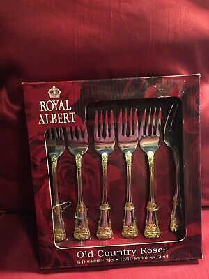 Royal Albert Old Country Roses 6 Dessert Forks Stainless Steel Gold Accents