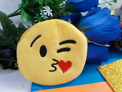 *** Plush Yellow Emoji Coin Purse - Black/Red Face With Zipper New # 43 ***