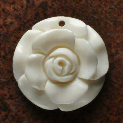 Hand Carved Flower Natural Buffalo Bone Pendant Bead 29X29X5Mm