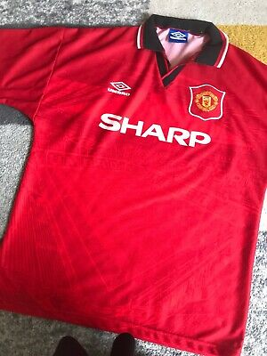 huge discount dee5a 01f30 VINTAGE ORIGINAL RARE Umbro Manchester United Home Football Kit Shirt Top L