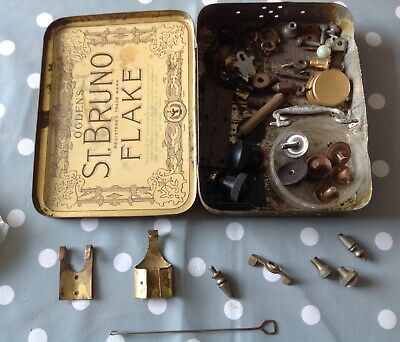 Clockmakers Parts Tin Box Gong Screws Pendulum Bits & Pieces Collection Spares