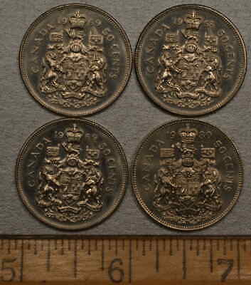 Canada Half Dollar Coins, Lot Of 4 - 50 Cent Coins, Dates: 1-1968, 2-1969 1-1980
