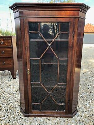 Antique oak & mahogany inlaid corner wall cabinet