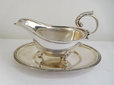 Silver Plate Plated Gravy Sauce Boat and Tray by J.T & Co Ltd Made in England