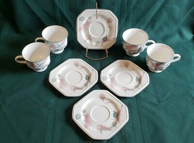 Mikasa Continental Silk Flowers Footed Tea Cups & Saucers F3003 Set of 8, Item B