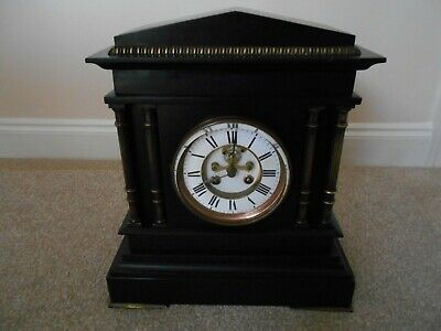 French Black Slate Mantle Clock by Achille Brocot Paris Circa 1860