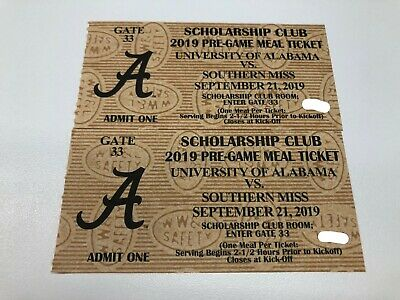 Alabama Crimson Tide Football vs. Southern Miss Golden Eagles - Meal Passes