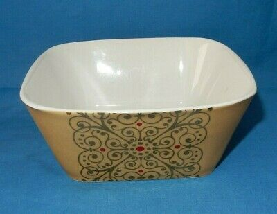"""1 Madrid Noble Excellence 6 1/8"""" Square Soup Cereal Salad Bowl Gold White Red"""
