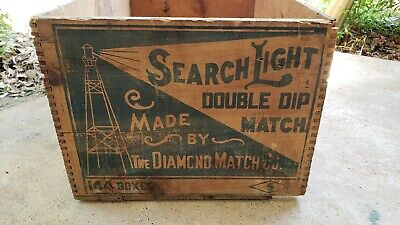 Vintage Diamond Match Co. Wooden Advertising Crate