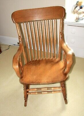 Vintage oak rocking chair with spindles-Circa 1930's-Refinished-Good Condition