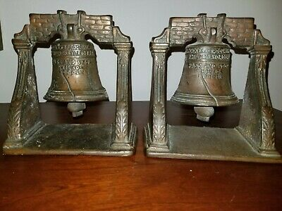 Vintage LIBERTY BELL Bookends Cast Iron with Bronze Finish Patriotic library