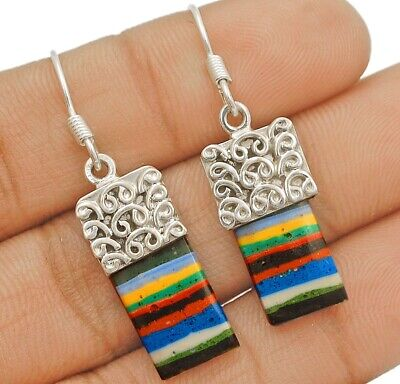 Natural Rainbow Calsilica 925 Solid Sterling Silver Earrings Jewelry, C32-3
