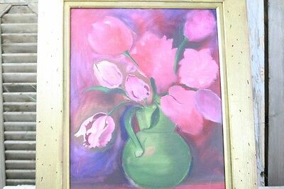 Oil Painting on Canvas Bright Pink Purple Flowers Wood Painted Gold Frame Vntge