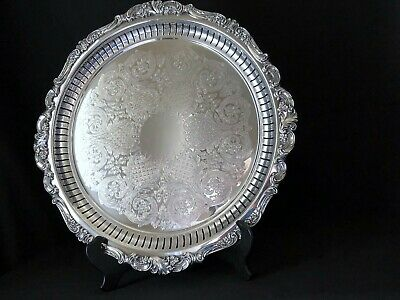 """Wallace Silver Plated Tray Baroque Footed 16.5""""Wide Great Condition #297"""