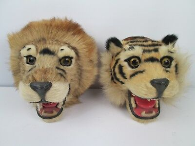 Vintage Faux Fur Tiger and Lion Head Wall Mount Replica Lot of 2