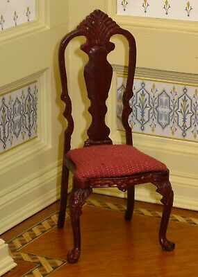 Bespaq Mahogany Chippendale Side Chair with Burgundy Seat Dollhouse Miniature