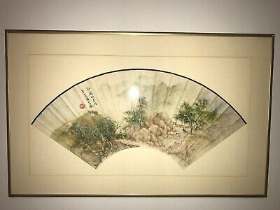 Vintage / Antique Original Chinese Watercolor Fan Painting Framed - NR