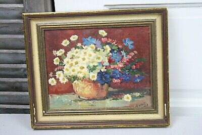 Small Vintage Oil Painting Canvas Framed Yellow White Daisies Blue Red Flowers