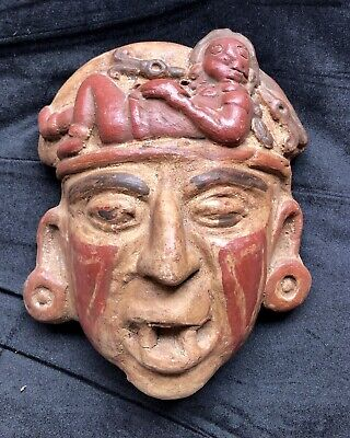 Mayan Aztec Pre-Columbian Terracotta Ancient Artifact Head Mask