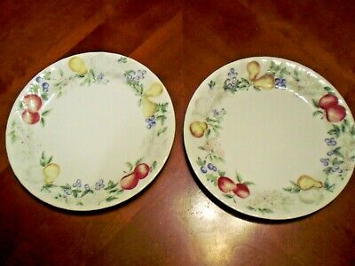 """2 Corelle Corning Dinner Luncheon Lunch Plates Chutney Fruits - 7 1/8"""""""