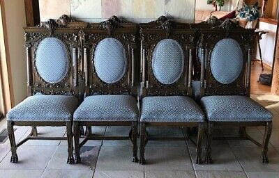 Antique Vintage Victorian Carved Dark Oak 8 Dining Chairs Northwind Claw Feet