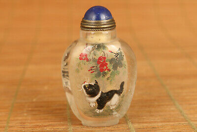 chinese old natural hair crystal hand painting cat snuff bottle