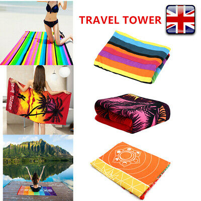 Large Microfibre Travel Towel Quick Dry Rainbow Tapestry Towel Yoga Thin Mat New