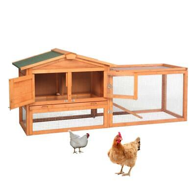 "61"" Two Tier Wooden Rabbit Hutch Cage Chicken Coop House Bunny H Backyard"