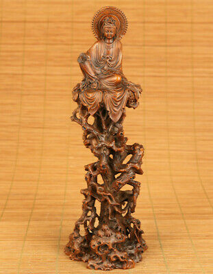 Rare old boxwood hand carved Guanyin statue netsuke table noble decoration