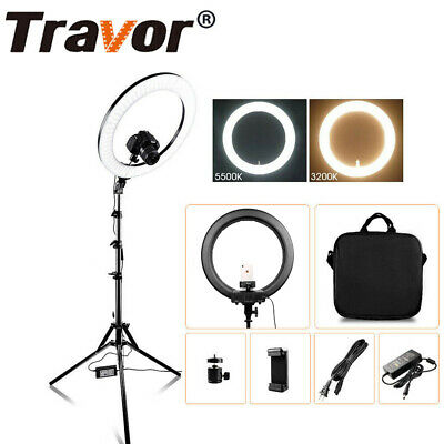 18'' LED SMD Ring Light Kit With Stand Dimmable Bi-color For Camera Makeup Phone