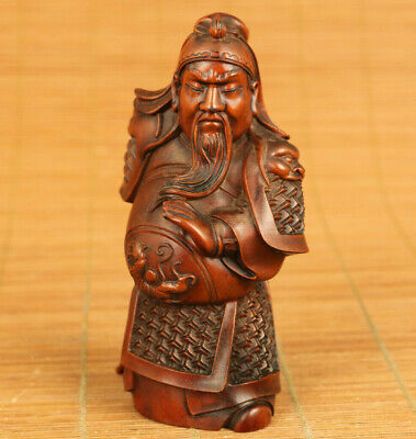 Chinese rare old boxwood hand carving Guangong statue figue table decoration