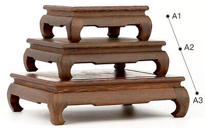 3PC Chinese CARVED ROSEWOOD TABLE DISPLAY-BONSAI SUISEKI-FOR VASE&ART