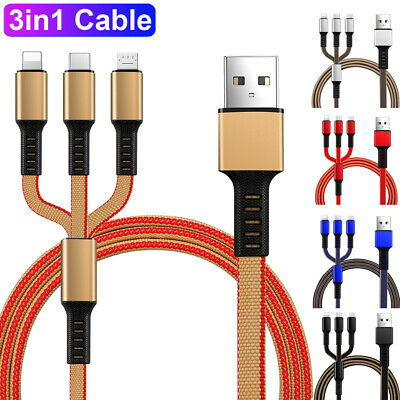 3in1 Micro USBC Data Sync Charging Cable Multi Function Phone Charger Cord Cable