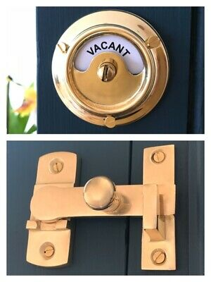 Brass Vacant Engaged Toilet Bathroom Lock Bolt Indicator Door Lavatory Cubicle