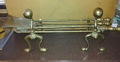Antique/Vintage Fire Dogs With Long Tools         (Br3)
