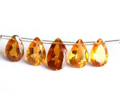 Citrine Beads Faceted Pear 5.5X8 - 6X10 Mm Natural Gemstone 4 Cts - 5 Pcs#1353