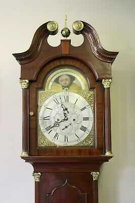 BEAUTIFUL  8 DAY MAHOGANY LONGCASE CLOCK WITH MOON PHASE DIAL BELL of SUNDERLAND