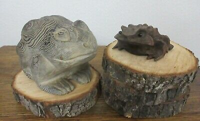 Rare Vtg Hand Carved Old Growth Cryptomeria Japanese Lg Frog + Toad Figurines
