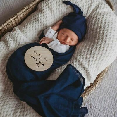 100% Organic Cotton Muslin Wrap/Newborn Swaddle/Pram Bassinet Blanket - Navy