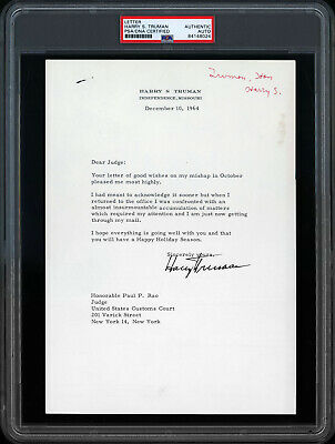 President Harry S. Truman Signed Typewritten Letter Psa/Dna Authentic Auto